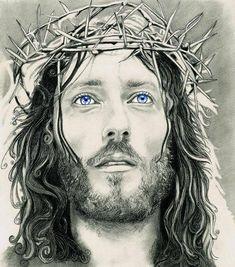 Jesus Sketch, Jesus Drawings, Blue Eye Color, Jesus Tattoo, Laser Art, Jesus Painting, Religious Tattoos, Jesus Face, Biblical Art