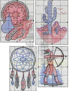 free cross stitch pattern -  Native Spirit dream catcher and saguaro
