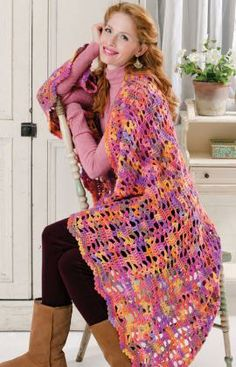 Color-ific One Piece Throw Free Crochet Pattern from Red Heart Yarns