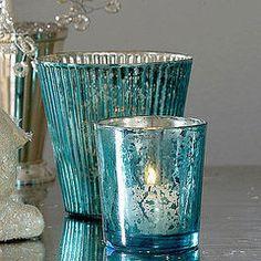 Mercury glass - love the blue