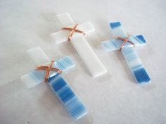 Baptism/Wedding Favors - glass cross with copper wire wrap  #favor #baptism #wedding
