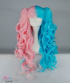 Lolita Pink Blue Curly Long Wig