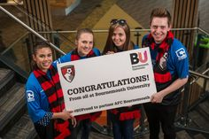 Our students congratulating AFC Bournemouth on becoming a Premier League team. Bournemouth University, Afc Bournemouth, Premier League Teams, How To Become, Students, Activities, Logos, Logo, A Logo