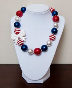 Red White and Blue Chunky Bubblegum Necklace by PinkLiliesBoutique