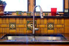 Poppy & Oak backsplash | designed by Motawi designer Hadley Lord