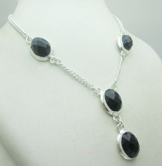 Silver Tone Metal Faceted Black Onyx Stone Gemstone Necklace Jewelry Fine Quality NK_220 28 GM ready to ship