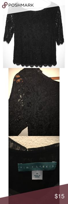 "Pim and Larkin lace blouse size medium in black Pim and Larkin blouse. In black lace. 3/4"" sleeves. Lined. Hits at waist. 100% nylon. Pre owned excellent condition, no rips, stains, or tears. pim and larkin Tops Blouses"