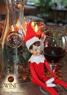 tonight our elf was caught drinking our vino and emptying our new carafes christmas decorations - Wine Christmas
