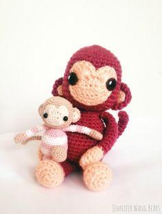 Year of the Monkey 2016 FREE amigurumi pattern | Jennifer Wang Bears (Hook 3.5mm and 1.4mm)