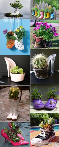 Old shoes turned into cute pot plants. I kind of like the cactus in the stripper shoe. This would be an awesome gift.