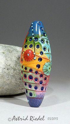 Mokume Gane Glass Art Glass Focal bead lampwork by by AstridRiedel