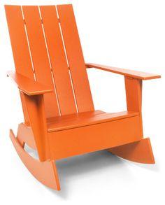 4 Slat Flat Standard Adirondack Rocker, Sunset Orange contemporary outdoor chairs