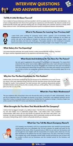 Most Common Interview Questions, Job Interview Preparation, Interview Skills, Interview Questions And Answers, Job Interview Tips, Job Interviews, Professional Interview Questions, Situational Interview Questions, Marketing Interview Questions