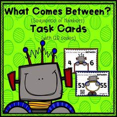Looking for a fun and interactive way for students to work with the sequence of numbers?  On each task card, students are provided with two target numbers and are asked to write the number that comes between those target numbers.  Each task card also includes a QR code, making self-correcting fun and easy.