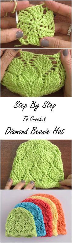 Diamond beanies step by step! Free Crochet Diamond Beanie Pattern