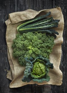 Tuscan and curly kale, savoy cabbage
