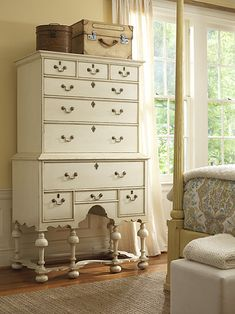 """Old White"" paint by Annie Sloan on highboy."