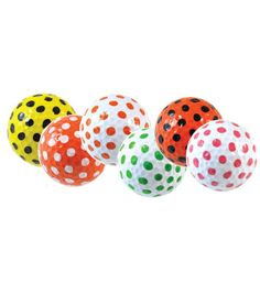 Brand new for 2015! These fun polka dot golf balls are available in 5 colors and will add a fun splash of color to your golf game. They're also easy to find in the grass! Soft touch 80-85% Compression