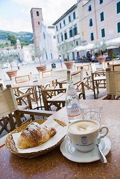 Perfect cappuccino and croissant at Gatto Nero Trattoria - Pietrasanta, Tuscany