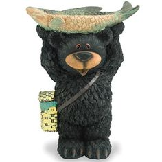 Black Bear Bird Feeder This Enchanting Proudly Lifts His Catch Above Head Offering Seed To Feathered Friends Wood Look Statue Adds Charm