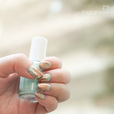"""My """"vintage guitar"""" nails: Don't Be Eggnogious (Sephora by OPI) layered over Mint Candy Apple (Essie)"""