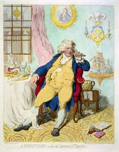 """King George IV (the Prince Regent in Napoleon's time): """"A VOLUPTUARY under the horrors of Digestion."""""""