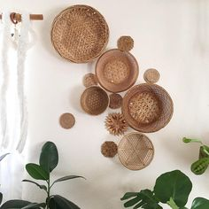 """Vintage large wall basket set of 12 : boho basket set Bohemian wall decor come with nails and you can arrange as you like and looks great in any home above bed, living room or around house plants : woven baskets made of straw, bamboo and beads sizes range from 4 - 15"""" normal vintage"""