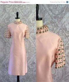 Vintage 1960s Cocktail Dress 60s Pink Silk Party Dress Womens Beaded Dress Size Medium Large