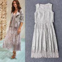 Sexy vestido europeo nueva moda 2016 mujeres del verano del resorte v-cuello de encaje borla Patchwork medio corto vestido de encaje gris blanco