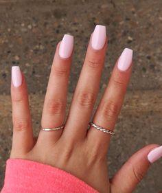 Pink Gel Nails, Light Pink Nails, Light Pink Nail Designs, Color Nails, Acrylic Nails Coffin Short, Best Acrylic Nails, Coffin Nails, Cute Nails, Pretty Nails