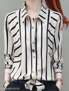 Autumn Spring Polyester Women Turn Down Collar Striped Long Sleeve Blouses ber Cheap Blouses, Shirt Blouses, Blouses For Women, Dress Neck Designs, Blouse Designs, Casual Dresses, Casual Outfits, Fashion Outfits, Mode Hijab