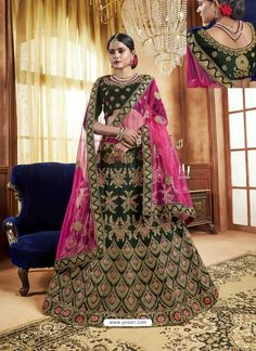 5c351d8e62 Dark Green Velvet Heavy Stone Embroidered Designer Lehenga Choli