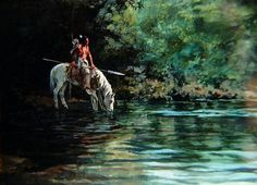 Hank Ford painting Indian Artwork, Indian Paintings, Native American Paintings, Native American Indians, Eskimo, Le Far West, Wild West, Indiana, Nativity
