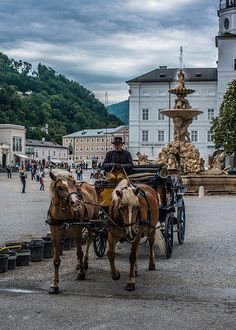 Salzburg, Austria. I have a really cute picture of a couple of the carriage horses.