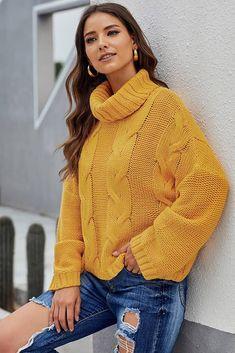Yellow Cable Cuddle Weather Handmade Turtleneck Full Sleeve Regular Knit Women Sweater Winter In Casual Sweaters, Winter Sweaters, Cable Knit Sweaters, Sweaters For Women, Women's Sweaters, Cardigans, Yellow Sweater, Sweater Shop, Long Sleeve Sweater