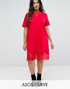 ASOS CURVE T-Shirt Dress with Lace Inserts