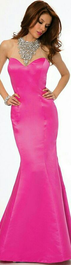 ❤ JOVANI Hot Pink Mermaid-Style Funnel Skirt Prom Dress #20999 ❤