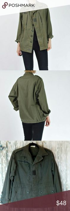"""Vintage military j. veyrier jacket 1983 Paris 96c GUC minor wear, no stains or holes Olive green Unsure of material but feels nice, like cotton Made in Paris 18 1/2"""" shoulder to shoulder 15"""" armpit to bottom 25"""" long Measurements taken flat   #0035 j. veyrier Jackets & Coats Military & Field"""