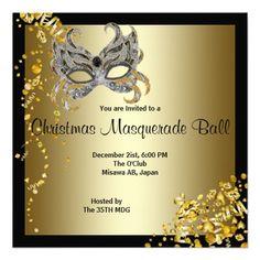 Gold Purple Mask Masquerade Ball Party Invitation