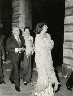 Princess Caroline of Monaco in Venice, Italy, along with her parents Prince Rainier and Princess Grace of Monaco, 1973.