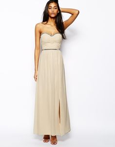Image 4 ofLittle Mistress Bandeau Maxi Dress with Embellishment