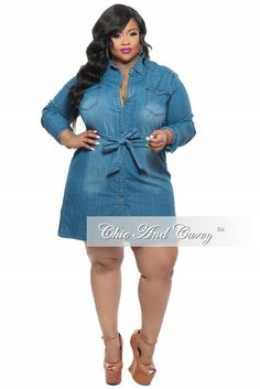 Plus Size Denim Top/ Dress with Tie – Chic And Curvy