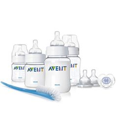 Philips AVENT: New Born Starter Set (RM189.00) This gift set includes 4 Airflex Feeding Bottles in two sizes, 2 teats, a soother and a bottle brush.