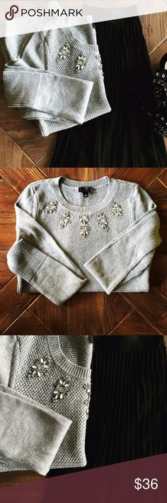 The Limited Embellished Sweater SzS. NWT. The Limited Gray embellished sweater. SzS.  New with tags's. Black pleated express skirt is up for sale in a separate listing. The Limited Sweaters Crew & Scoop Necks