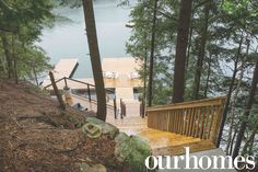 Custom built stairs and dock at this bakehouse cottage.