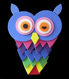 googly eyes, bird crafts, owl crafts, animal crafts, rainbow, cut outs, kid crafts, owls, construction paper