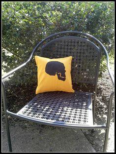Skull Pillow Sham Mustard Yellow 12 x12 Pillow by SewPillowTalk, $10.00