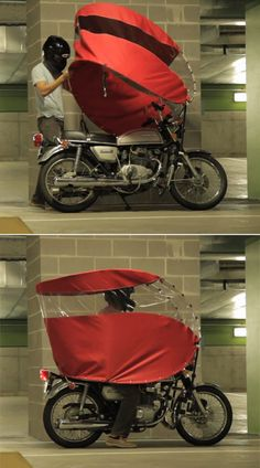 The Rainrunner: A Portable Way to Stay Dry While Motorcycling in the Rain - Motorcycle Cover, Bike Cover, Custom Motorcycles, Cars And Motorcycles, Tricycle Bike, Motorbike Accessories, Cruiser Bicycle, Bike Style, Cool Inventions