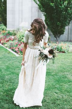 modest wedding dress with short sleeve and a lace skirt from alta moda. --(modest bridal gown)--