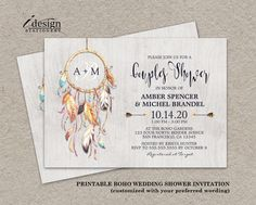 Boho Wedding Shower Invitation With Dreamcatcher | DIY Printable Bohemian Style Couples Shower Invitations With Watercolor Dream Catcher by iDesignStationery on Etsy